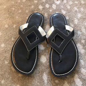 Bernardo Black Leather Sandals